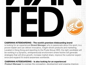 Cabrinha are Hiring - Work in the Kiteboarding Industry! - Kitesurfing News
